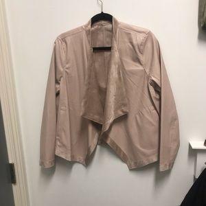 BB Dakota Faux Leather Draped Jacket